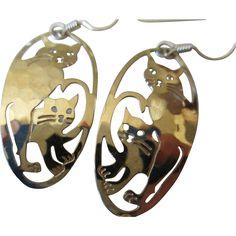 """1980s """"Wild Byrde""""14K Gold Plate Cat Wire Earrings"""