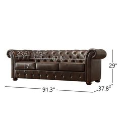 Shop Knightsbridge Tufted Scroll Arm Chesterfield Sofa by iNSPIRE Q Artisan - On Sale - Overstock - 9497906 - Brown Bonded Leather Tufted Leather Sofa, Deep Sofa, Sofa Dimension, Grey Cushions, Cushion Filling, Chesterfield Sofa, Spacious Living Room, Bonded Leather, Wood Accents