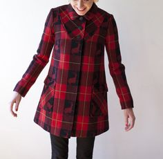 Buffalo checked Italian wool coat by Poppy von Frohlich made in SF. $435