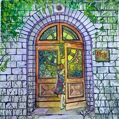 """""""My own version of secret garden. I wonder if you notice the mood that I set for this picture. The moment she opens the wooden door , everything's gonna…"""""""