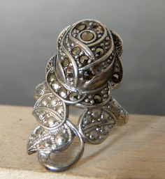 Vintage Siilver Marcasite Flower Ring by FourSailAccessories, $16.00