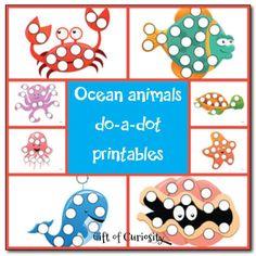 Ocean animals do-a-dot printables - Gift of Curiosity