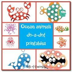 Ocean animals do-a-dot printables - Gift of Curiosity
