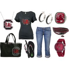 """""""Gamecocks Spring Day Outfit!"""" by jewelrywarehouse on Polyvore #gamecocks"""