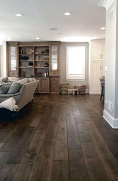 World Of Interiors, Engineered Hardwood Flooring, Hardwood Floors, Diy Flooring, Grey Wood Floors, Dark Hardwood, Dark Wood, Minimalist Dining Room, Farmhouse Living Room Furniture