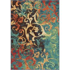 Orian Rugs Vibrance Multi Rectangular Indoor Machine-Made Novelty Area Rug (Common: 7 x 10; Actual: 6.58-ft W x 9.67-ft L)