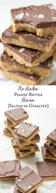 """No Bake Peanut Butter Bars are a classic, dessert, sweet 'n savory recipe. Enjoy these delicious bars with salted tops for a """"grown-up"""" twist or regular."""