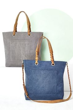 Canvas tote bags with braided shoulder straps and side pockets (great for your phone!)