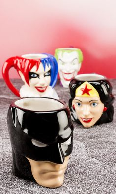 With DC superhero mugs and villains like the Joker and Harley Quinn, your mornings will be packed with action--a Batman coffee mug is perfect for drinking your coffee as black as the Gotham Knight. Batman Comic Books, Batman Comics, Batgirl, Catwoman, Disney Pixar, Gotham, Terry Lee, Biscuit, Birthday Coffee