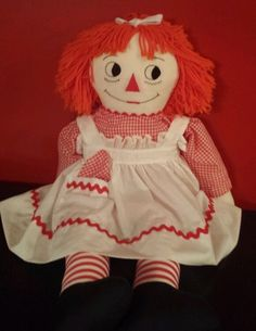 "Vintage Raggedy Ann Large 35"" Doll I Love You & Original Dress with handkerchief #Vintageragdoll"