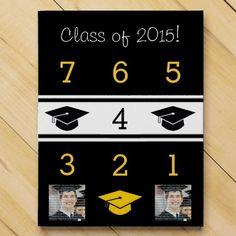 Black & Gold Graduation Cap Calendar Countdown Chocolate Countdown Calendar