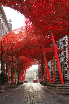 Urban art installations can be pure magic - like this streetscape called The Sequence by Arne Quinze. Brussels, Belgium.