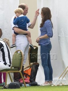 Kate, William and George at Beaufort polo club.  June 14th 2015