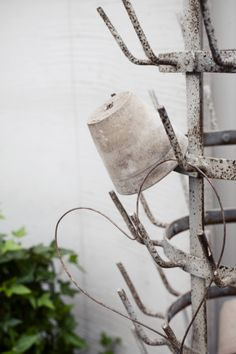 ♥use french drying rack for twine etc.  also minature garden tools