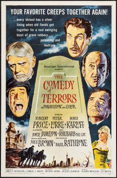 """The Comedy of Terrors (American International, 1964). One Sheet (27"""" X 41""""). Horror. Starring Vincent Price, Peter Lorre, Boris Karloff, Joyce Jameson, Joe E. Brown, Basil Rathbone, Beverly Hills, and Rhubarb the Cat. Directed by Jacques Tourneur."""