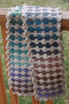 this gal made a pattern of the rhubarb scarf by moonstitches- or research 'Cathering Wheel Stitch'... also found instructional video for this stitch on you tube