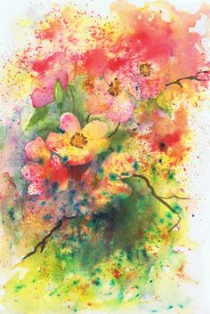 Wild Roses by Julie Horner - Brusho and watercolour