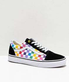 Brighten up your collection of sneakers with the Vans Old Skool Black, White and Rainbow Checkerboard Skate Shoes. Old Skool Black, White and Rainbow Checkerboard Skate Shoes from Vans. Rainbow checkerboard print pattern along canvas sidewalls. Vans Sneakers, Vans Skate Shoes, Sneakers Mode, Cool Vans Shoes, Zumba Shoes, Women's Vans, Volleyball Shoes, Awesome Shoes, Basketball Shoes