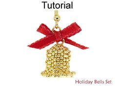 Beaded Jingle Bells Holiday Christmas Necklace Earrings Jewelry Making Tutorial Pattern Instructions | Simple Bead Patterns