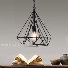 GEOMETRIC WIRE CAGE PENDANT LIGHT diamond ceiling chandelier EDISON VINTAGE BULB