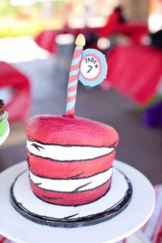 dr seuss cat in the hat thing one thing two red teal birthday party hat cake and other goodies click on the pic