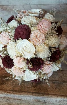 Burgundy Cabernet Blush Large Bridal Bouquet Wedding Sola Flowers and dried Flowers Keepsake Wood Flowers Bouquets Marsala Wine by StellaDesignsShop