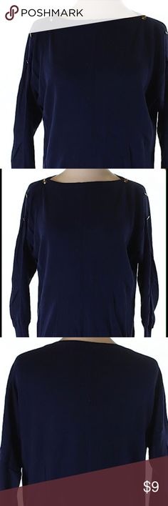Deep Blue Gap Top Cute 3/4 sleeve top. 100% cotton and slight fading, but in excellent condition otherwise. Small metallic detail on the shoulders GAP Tops Tees - Long Sleeve