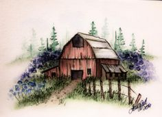 Barn-Fence-set-3-pc-Watercolor-Set-L-K-example-ART-IMPRESSIONS-RUBBER-STAMPS