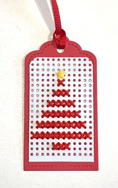 Cross stitch tag using Paper Smooches Cross Stitch die