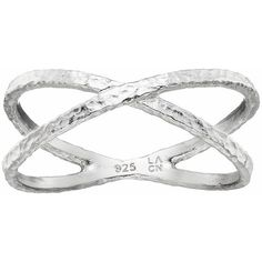 Primrose Sterling Silver Hammered Crisscross Ring ($50) ❤ liked on Polyvore featuring jewelry, rings, grey, hammered sterling silver ring, sterling silver jewelry, criss cross ring, sterling silver criss cross ring and hammered jewelry