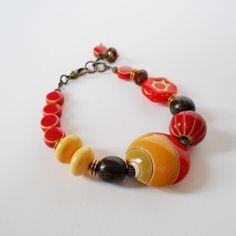 statement bracelet OOAK bracelet orange yellow bead by jcudesigns