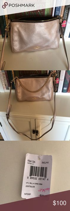 Coach crossbody Metallic pink coach crossbody new with tags. Coach Bags Crossbody Bags