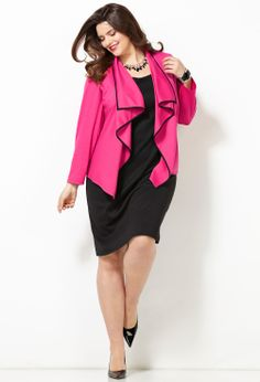 Ponte Cascading Jacket Dress-Plus Size Jacket Dress-Avenue
