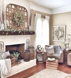 Pretty Country Living Room Design Ideas With Fireplace Mantle 13 Modern Farmhouse Living Room Decor, French Country Living Room, Farmhouse Style Decorating, Farmhouse Decor, Farmhouse Fireplace, Farmhouse Design, Farmhouse Ideas, Farmhouse Livingrooms, Country Farmhouse