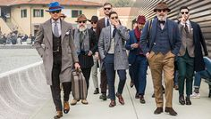 Style Inspiration .. .FROM THE BOYS! I love the layering of gorgeous color and textures.   Photographed by Monsieur Jerome. This week in Florence, throngs of well-dressed gents descended upon the Italian fashion mecca, clad in the most dapper styles to grace the city since, well, perhaps last year's Pitti Uomo trade show. The Window was lucky enough to capture this major moment for m