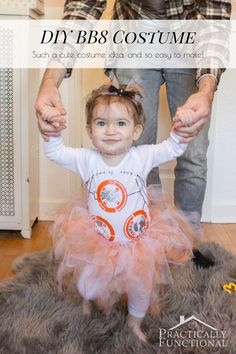Such a cute BB8 Halloween costume! It's just graphics on a plain onesie and a simple no-sew tutu!
