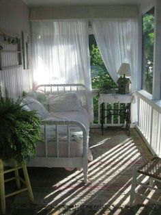 vintage daybed on back porch