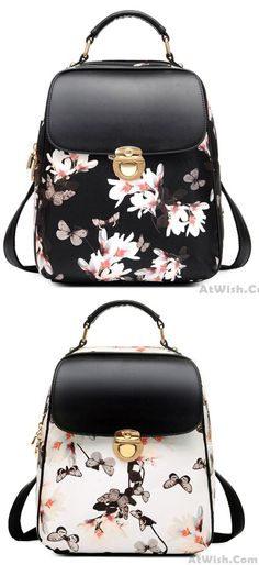Fresh Girl Butterfly Flower School Bag Casual Backpack #flower #butterfly #backpack #bag #leisure #Brown #school #college #student