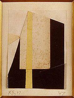 KURT SCHWITTERS Untitled (Black, White, Gold)