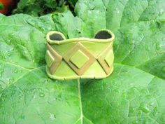 Earth Tones Diamond In the Rough Polymer Clay and Brass Cuff Bracelet | Wyverndesigns - Jewelry on ArtFire