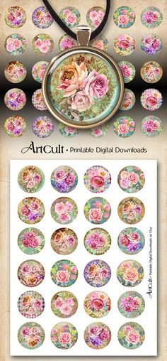1 inch (25mm) and 1.5 inch size Round images PINK FLORAL DREAM Digital Collage Sheet Printable download for pendants magnets craft projects