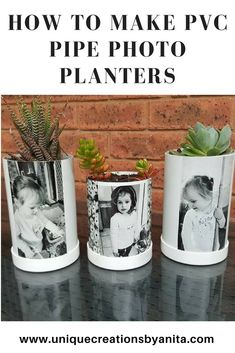 Make your own Photo Planters from recycled PVC Pipe pvcpipe craft diy planter diyplanter flowerpot 546554104775222828 Craft Projects For Adults, Diy Craft Projects, Projects To Try, Craft Ideas, Diy Crafts For Adults, Pvc Pipe Crafts, Pvc Pipe Projects, Lathe Projects, Foto Transfer