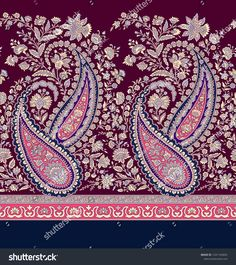 Find Seamless Paisley Indian Motif stock images in HD and millions of other royalty-free stock photos, illustrations and vectors in the Shutterstock collection. Textile Patterns, Textile Prints, Textile Design, Fabric Design, Print Patterns, Motif Paisley, Paisley Design, Paisley Pattern, Embroidery Works