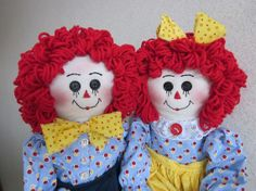 Raggedy Ann and Andy dolls by granniesraggedybags on Etsy, $52.00 #hmc #handmadec #boebot