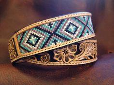 Custom Beaded Belts   custom leather belt tapered leather belt two tone leather belt beaded ...