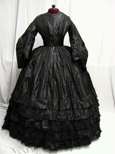 1850's -1860's Civil War Era Black Silk Dress | eBay