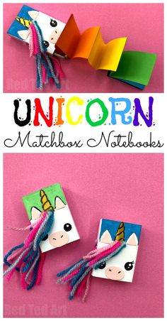 Easy Unicorn Craft for Kids - turn a matchbox into this adorable Matchbox Unicorn Notebook. Kids LOVE Mini Notebooks and this is just the cutest!!! Love the rainbow book as part of this Unicorn craft! #unicorns #unicorncrafts #ibelieve #notebooks #diynotebooks #backtoschool #schoolsupplies