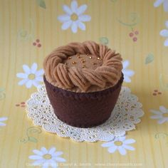Caramel Frosted Plush Cupcake Handstitched Pincushion