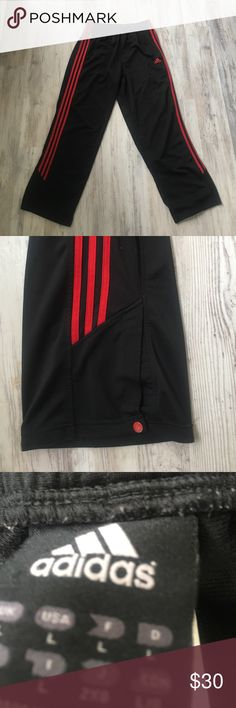 Adidas Mens Athletic Pant Still in GREAT SHAPE. Has snap closure on ankle. Size Large. With red Adidas stripe down side and mesh material. adidas Pants Sweatpants & Joggers