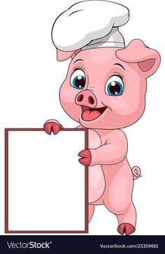 Funny pig chef vector image on VectorStock Person Cartoon, Cartoon Girl Drawing, Girl Cartoon, Pig Wallpaper, License Plate Art, Pig Illustration, Funny Pigs, School Painting, Pig Art